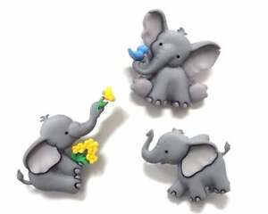 Childrens Buttons - Elephant - Novelty Buttons Cake Decorations Craft Sewing