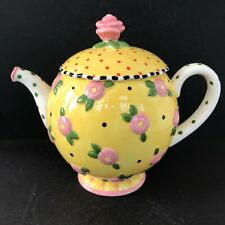 Mary Engelbreit Me Ink 1997 Ceramic Yellow and Pink Flower & Polka Dot Teapot