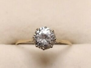 Vintage 9ct Gold Solitaire Cubic Zirconia Ring