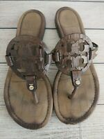 Tory Burch Miller Reptile Texture Brown Leather Sandals Size 9.5 M