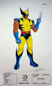 WOLVERINE  X-Men The Animated Series SIGNED Frank Squillace Color Model Cel Copy
