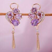 Ohrringe mit Amethist und Zirkonia Rotgold Ohrhänger Rose Gold 585 neu