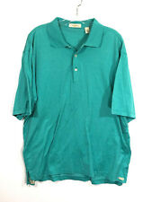 Peter Millar Green Blue Dotted Double Mercerised Cotton Polo Casual Shirt Mens L