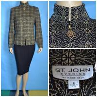 ST JOHN Knits Evening BLACK Gold JACKET L 10 8 Suit Blazer Rhinestones Sequined