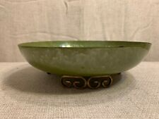 """Vintage Moire Glaze Green Enamel Metal Footed Bowl by Kyes - 7 1/8"""" Diameter"""