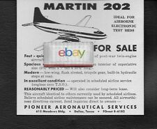 PIONEER AIRLINES AERONAUTICAL SERVICES DALLAS TEXAS FOR SALE MARTIN 202 1956 AD
