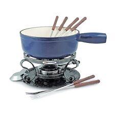 Swissmar Lugano 9 Piece Cast Iron Fondue Set, Deep Blue, New