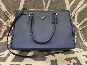 Authentic Prada blue leather shoulder bag, fair condition, Medium Size