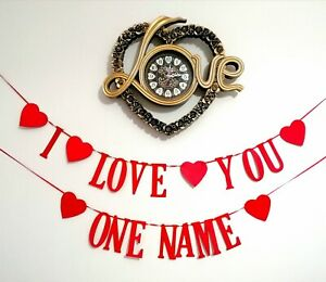 Pub Valentines day Banner. I LOVE YOU bunting  DECORATIONS HANDMADE PERSONALISED