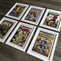 MARVEL PICTURES IN FRAMES. Set Of 6 A4 Size Iron Man Spiderman Hulk X Men Thor