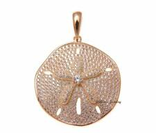 ROSE GOLD PLATED 925 STERLING SILVER HAWAIIAN SAND DOLLAR PENDANT CZ 29MM