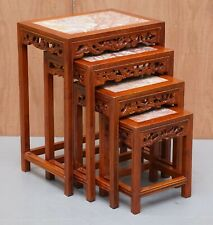 NEST OF FOUR CHINESE STYLE MARBLE TOP MAHOGANY NESTING