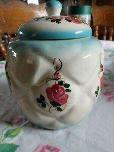 Vintage California Pottery Ceramic Floral Roses Canister Cookie Jar Blue, Pink