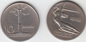 10 ZLOTYCH 1965 700 YEARS OF WARSAW - 2 coins