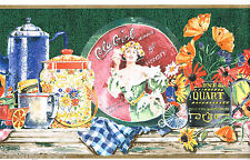 Kitchen Shelf COLA Girl Cowpoke Plate Pitcher Poppy Country Wall paper Border