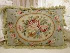 "20""Beautiful Elegant Victorian Blooming Rose Garland Light Blue Needlepon Pillow"