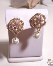 Antique looking drop/dangle pearl and crystal earrings