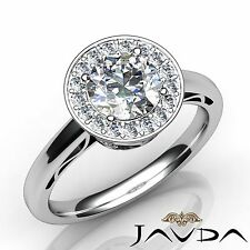 Halo Pave Round Diamond Engagement Filigree Ring GIA F SI1 14k White Gold 1.36ct
