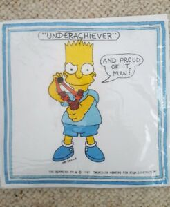 FUNNY GIFT HANDKERCHIEFS x2  Novelty Simpsons Cartoons Cotton (Pack of 2)