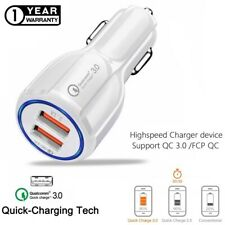 Fast Car Charger Qualcomm Qc3.0 Certified Quick 2-Usb Port Charge Dual 36W White