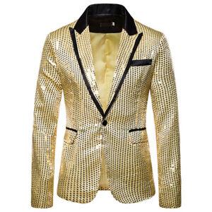 Men's Sequins Suit Party Dance Blazer Jacket Bling Coat Performance Costume