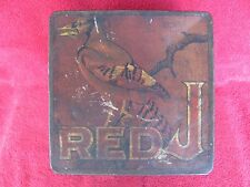 Old Vintage Red 'J' Chewing Tobacco Advertising Tin Can Tax Stamp Sign Plug Chew