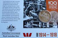 AUSTRALIA: 2015 20 CENT ANZACS REMEMBERED  WW1 1914-1918
