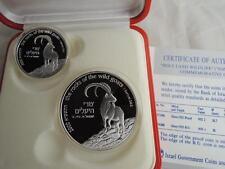 Israel 2000 Holy Land Wildlife Goat and Acacia Tree PR+BU Silver Coins +box +COA