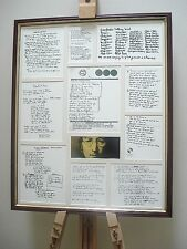 JOHN LENNON ORIGINAL HANDWRITTEN LYRICS FRAMED DISPLAY MONTAGE