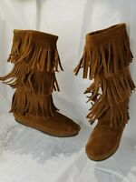 Minnetonka Women's 3 Layer Fringe Calf Boots US Brown Suede Moccasins US 6 M