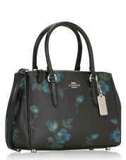 Original COACH Mini Surrey Satchel Bag Brown Floral Blue F88562 Zipper