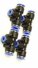 """4 - 1/2""""x1/4""""x1/2"""" OD Hose Tee Fitting Push Connect Air Ride Suspension Tube T"""