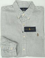 NEW $98 Polo Ralph Lauren Gray Plaid Long Sleeve Shirt Cotton Oxford Classic NWT