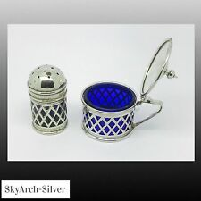 SILVER PLATED EPNS Condiment PEPPER AND MUSTARD POT c1900 WITH BLUE GLASS LINERS