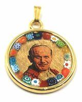 Anhänger Medaille, Glas Murano, Arbeiten Blatt Gold, San Giovanni Paolo II