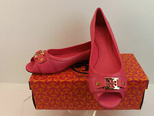 NIB TORY BURCH  PINK TEXTURED LEATHER CLINES GOLD REVA OPEN TOE FLATS 9.5 $250