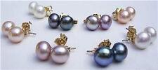 Wholesale 8Pairs 4Color 7-8MM Akoya Cultured Pearl Stud Earrings AAA Grade