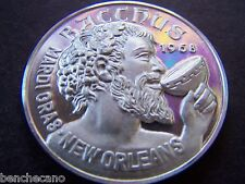 1973 BACCHUS GOES TO THE MOVIES Fine Silver Mardi Gras Doubloon-Motto Top
