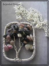 Tree of Life Tourmaline Chip Necklace Pendant