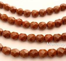 50 4mm Czech Glass Firepolish Beads: Amber