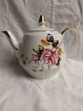Gibsons Staffordshire teapot, Vintage, China, Pink rose decorations, Gilt trim