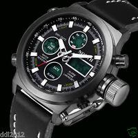 Men Military Sport Waterprof Watches Leather LED Digital Date Quartz Wrist Watch