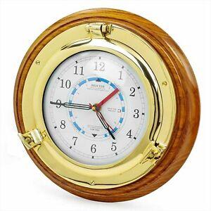 Maritime Porthole Wall Brass Clock Ship's Time Nautical Quartz Antique Brass