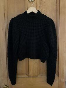 Zara Black Wool Blend Cropped Long Sleeve Jumper Open Knit S