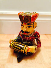 """6"""" - Hand Carved Wooden Decorative Multi-Colored Musician Playing Drum or Cymbal"""