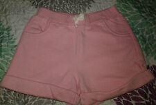 EUC Girls Sz 10 Land's End Pale Pink Shorts French Terry Elastic Waistband