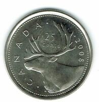 2016 Logo Canadian Brilliant Uncirculated Caribou Twenty Five Cent coin!