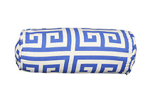 "Apollo Blue Greek Key Bolster Pillow Cover 6""x16"""