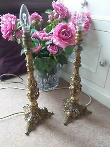 Pair of 2 Vintage Falkenstein USA Brass Plated Antique Style Ornate Table Lamps