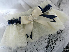 NAVY BLUE AND IVORY FRENCH GARTER WEDDING BRIDE SATIN LACE HEART DIAMANTE NEW